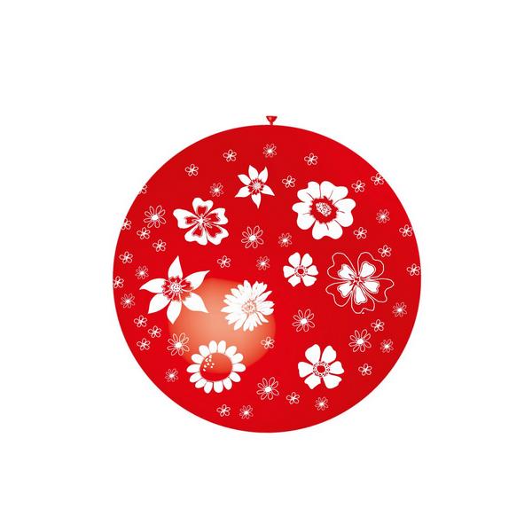 ballons 90 cm imprimé fleurs blanches tout autour au choix 9 couleurs