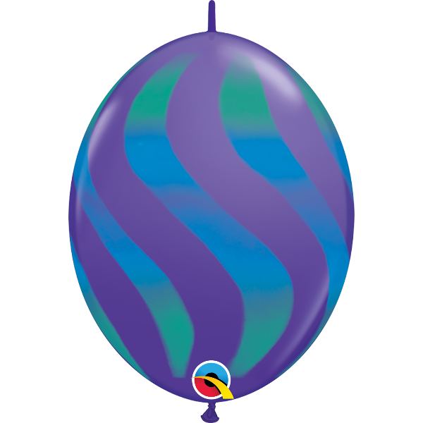 50 Ballons quick link 30 cm violet rayures vertes et bleues QUALATEX Double Attaches Qualatex