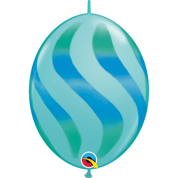 50 Ballons quick link 30 cm turquoise caraïbe rayures vertes et bleues QUALATEX Double Attaches Qualatex