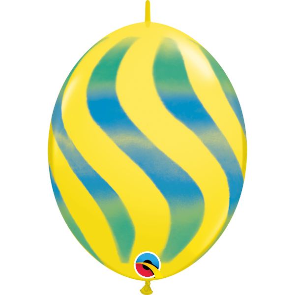50 Ballons quick link 30 cm jaune rayures vertes et bleues QUALATEX Double Attaches Qualatex