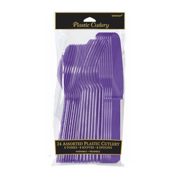 Assortiment 24 couverts violet plastique