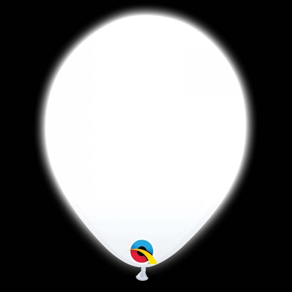 5 ballons de 25 CM Ø qualatex blanc + diode