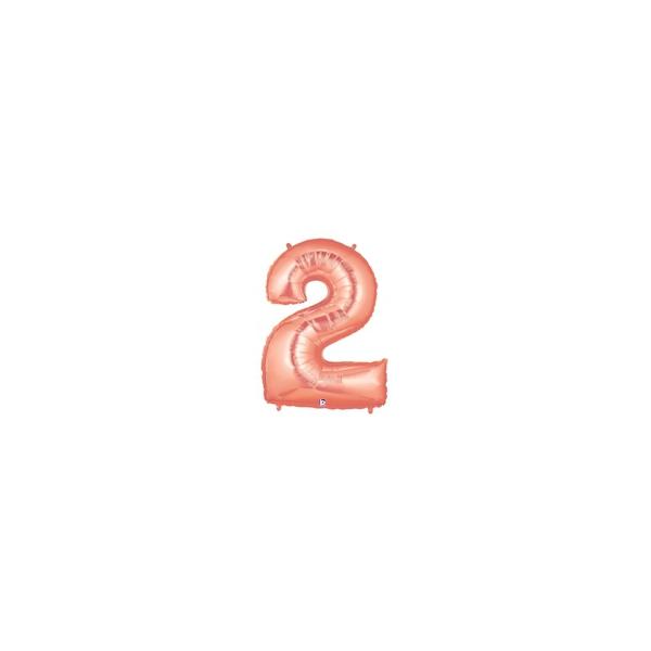 2 rose or Chiffre métal mylar 2 BETALLIC Chiffres 86 CM (Gonflage Air Ou Hélium)(7 couleurs au choix)