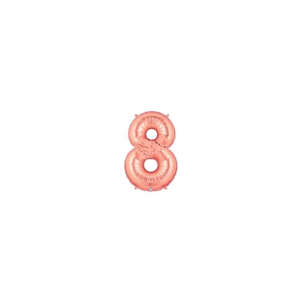 8 rose or Chiffre md métal mylar 8