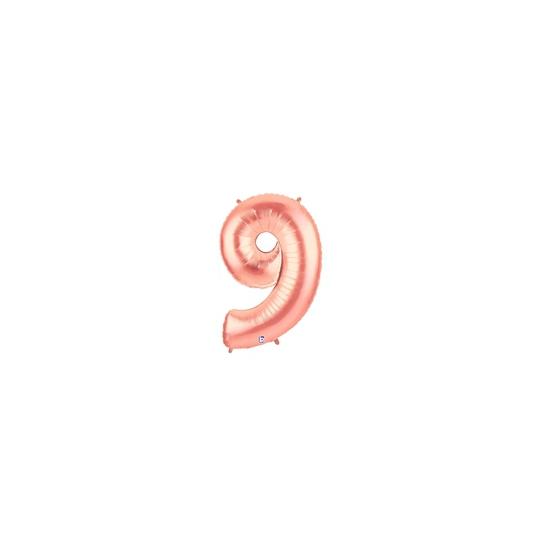 9 rose or Chiffre métal mylar 9 hauteur 86 cm