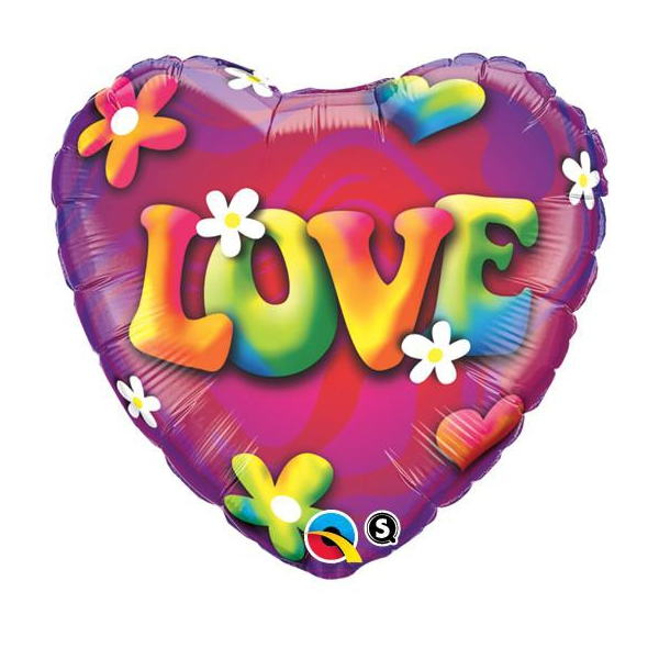 ballon mylar métal coeur love QUALATEX