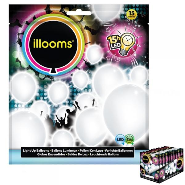 15 ballons de 23 CM Ø blanc + led15led01169 Lumieres Pour Ballons Et Decoration