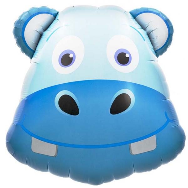 Tête de Joyeux hippo ballon mylar