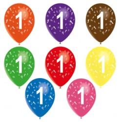 Ballons latex 28 cm imprimé 1 tout autour Chiffres De 1 A 10 Anniversaire