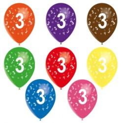 Ballons latex 28 cm imprimé 3 tout autour Chiffres De 1 A 10 Anniversaire