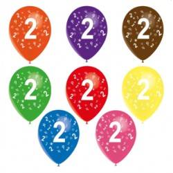 Ballons latex 28 cm imprimé 2 tout autour Chiffres De 1 A 10 Anniversaire