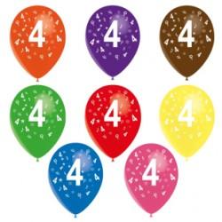 Ballons latex 28 cm imprimé 4 tout autour Chiffres De 1 A 10 Anniversaire