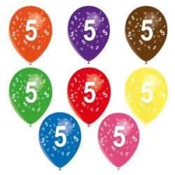 Ballons latex 28 cm imprimé 5 tout autour Chiffres De 1 A 10 Anniversaire