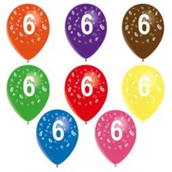 Ballons latex 28 cm imprimé 6 tout autour Chiffres De 1 A 10 Anniversaire