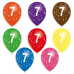8 Ballons latex 28 cm imprimé 7 tout autour487_952936185 Chiffres De 1 A 10 Anniversaire