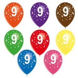 Ballons latex 28 cm imprimé 9 tout autour Chiffres De 1 A 10 Anniversaire
