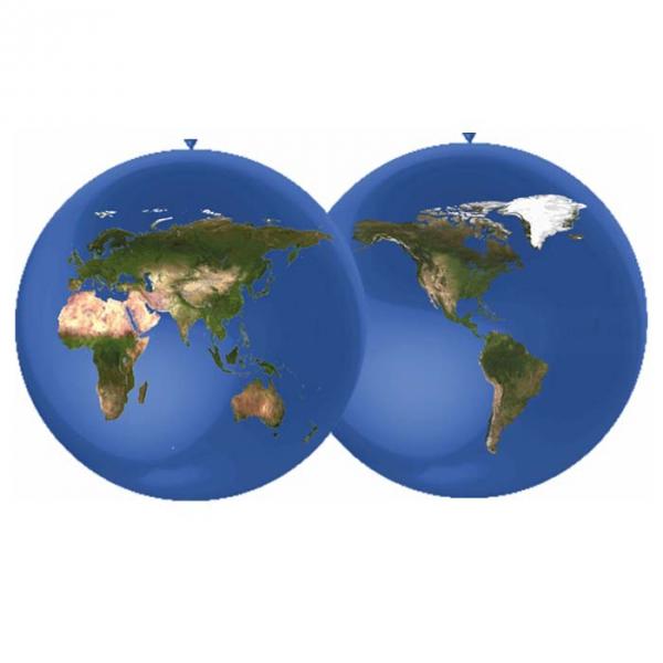 1 ballon 90 cm mappemonde quadri sens suspendu