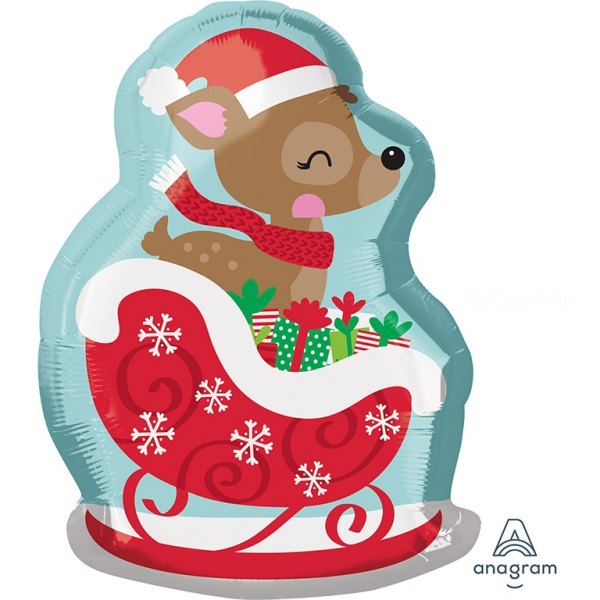 Bambi sur un traineau60104 AMSCAN Noël