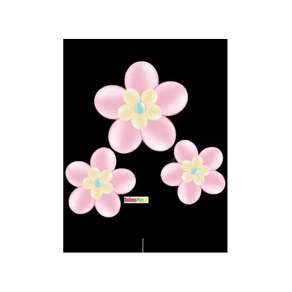 kit ballons pour 3 fleurs rose à suspendre