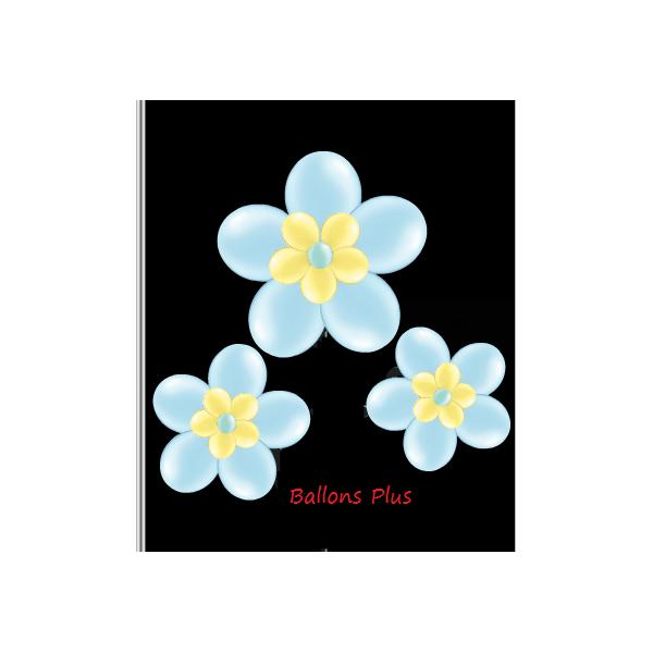 kit pour 3 fleurs bleu à suspendre3 fleurs v1bleu Kit Fleurs Avec Ballons 28 Cm De Diamêtre