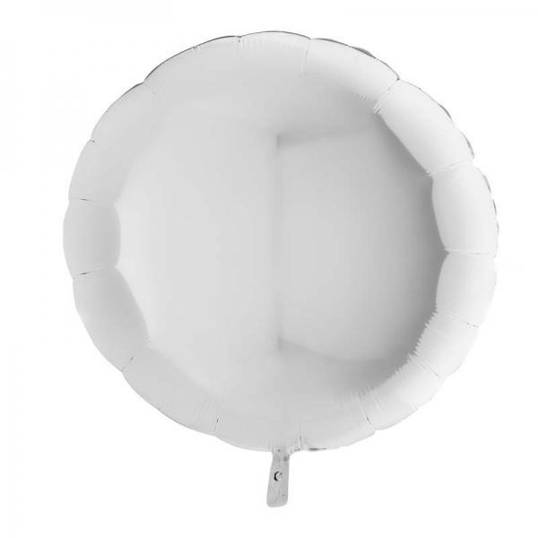 BLANC rond metal mylar 90 cm vendu non gonfléG36118WH Grabo Rond Mylar 90 Cm