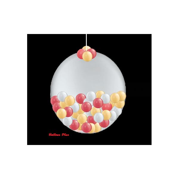 KIT SUSPENSION 1 ballon 100 cm + petits ballons100bouleorargentrouge Ballons Plus Kits Suspensions