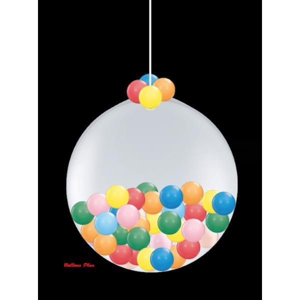 KIT SUSPENSION 1 ballon 100 cm + petits ballons100boulerougeorangevertbleujaune Ballons Plus Kits Suspensions