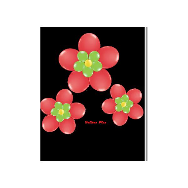 kit pour 3 fleurs rouge à suspendre3 fleurs v1rouge Kit Fleurs Avec Ballons 28 Cm De Diamêtre