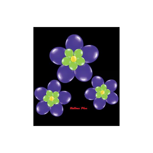 kit pour 3 fleurs violet à suspendre3 fleurs v1violet Kit Fleurs Avec Ballons 28 Cm De Diamêtre