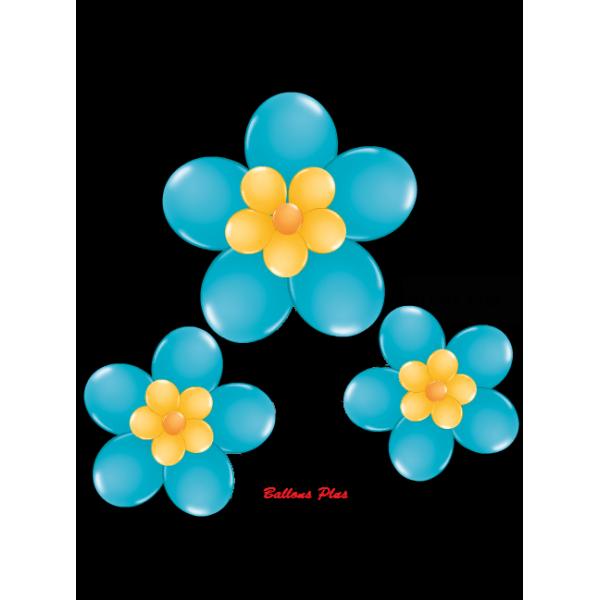 kit pour 3 fleurs Turquoise à suspendre3 fleurs v1turquoise Kit Fleurs Avec Ballons 28 Cm De Diamêtre