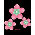 kit pour 3 fleurs rose foncé à suspendre