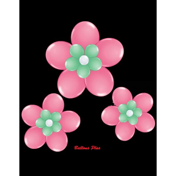 kit pour 3 fleurs rose foncé à suspendre3 fleurs v1rosefoncé Kit Fleurs Avec Ballons 28 Cm De Diamêtre