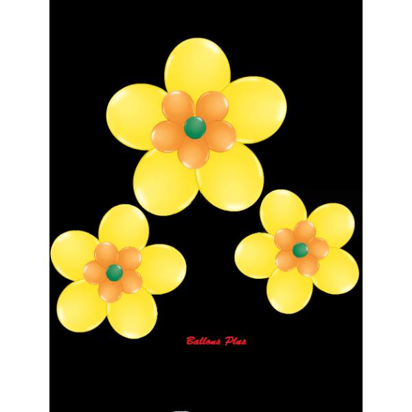 kit pour 3 fleurs jaune à suspendre3 fleurs v1jaune Kit Fleurs Avec Ballons 28 Cm De Diamêtre