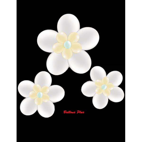 kit pour 3 fleurs blanc métal à suspendre3 fleurs v1blancmétal Kit Fleurs Avec Ballons 28 Cm De Diamêtre