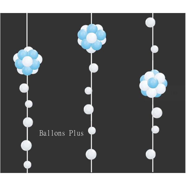 KIT 3 Suspensions Boules blanche et bleu ciel et Bulles