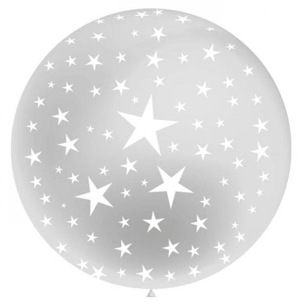 1 ballon 75cm argent étoiles blanche
