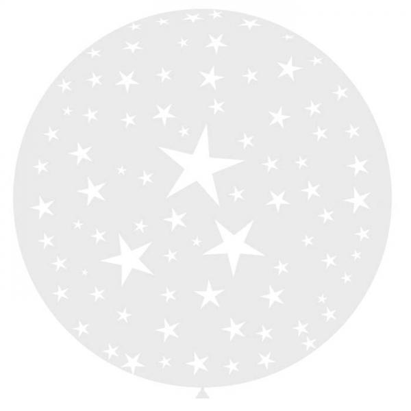 1 ballon 90 cm cristal transparent imprimé étoiles blanches