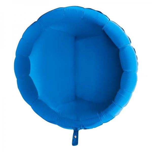Bleu rond metal mylar 90 cm vendu non gonflé