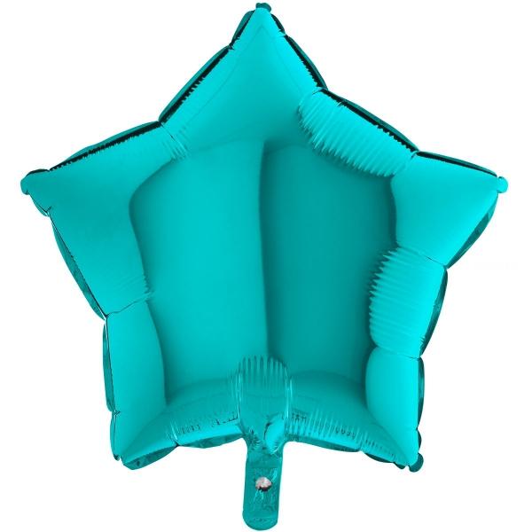 Etoile mylar turquoise Tiffany 90 cm de diamètre non gonflée Grabo Etoiles 90 cm