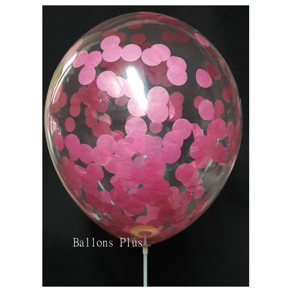 kit pour créer 12 ballons confettis fushia