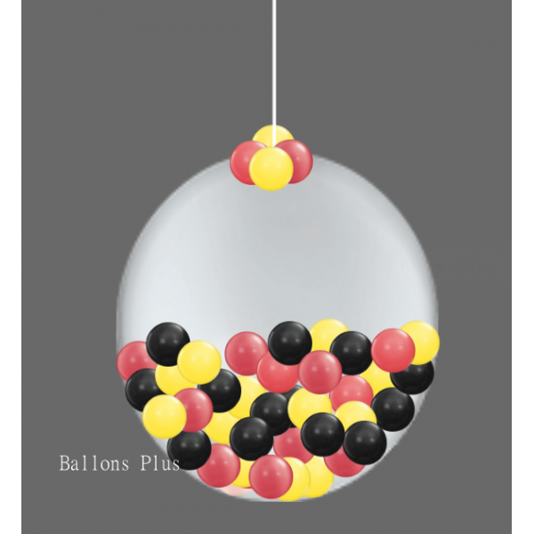 Kit suspension 1 ballon 100 cm + petits ballons rouge noir jaune100boulerougenoirjaune Ballons Plus Kits Suspensions
