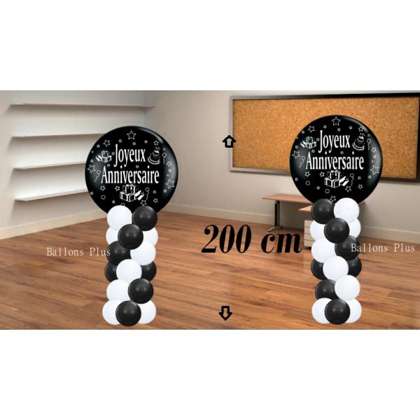 2 colonnes Joyeux anniversaire kit 200 noir blanc noir