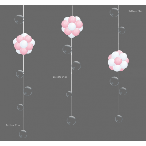 Kit 3 suspensions boules roses et blanche et bulles