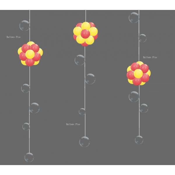 KIT 3 Suspensions Boules rouge et jaune et Bulles