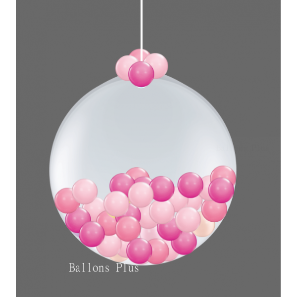 Kit suspension 1 ballon 100 cm + petits ballons 3 roses