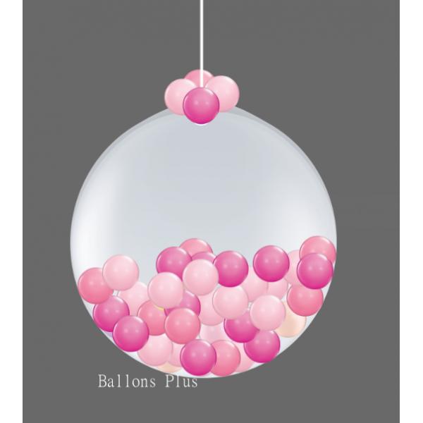 Kit suspension 1 ballon 100 cm + petits ballons 3 roses100boule3rose Ballons Plus Kits Suspensions