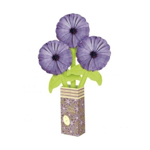 Bouquet ballons 3 fleurs mauve