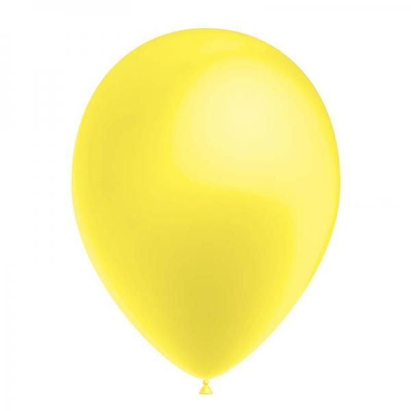 25 ballons jaune citron métal 26 cm