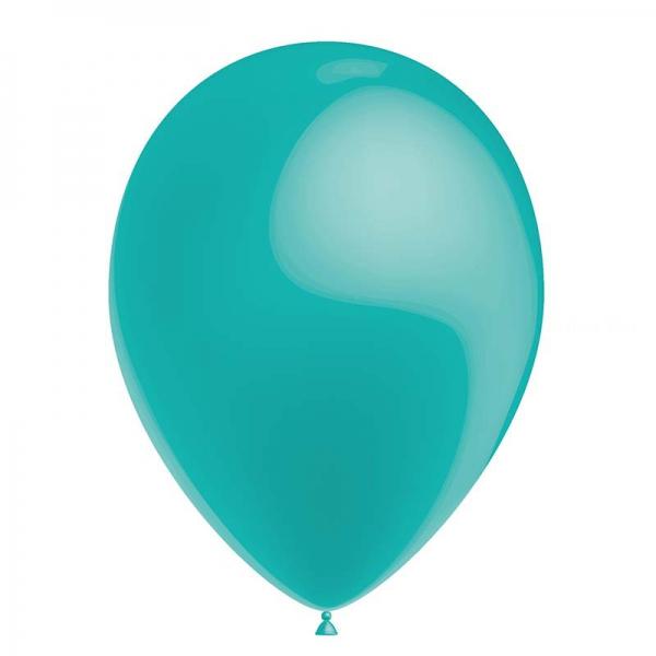 25 ballons turquoise métal 26 cm