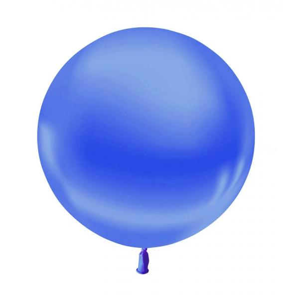 1 ballon 55 cm bleu roi métal